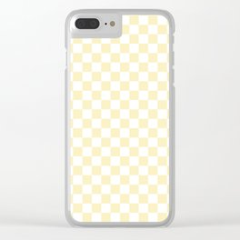 Small Checkered - White and Blond Yellow Clear iPhone Case