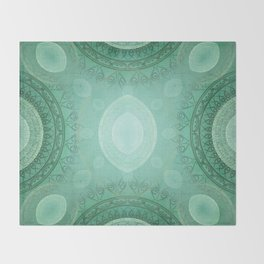 """Aquamarine Sea Mandala Deluxe"" Throw Blanket"