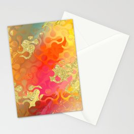 Decorative Gold Sparkling Bright Abstract Design Stationery Cards