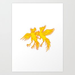 Cockfighting Roosters Cockerel Drawing Art Print