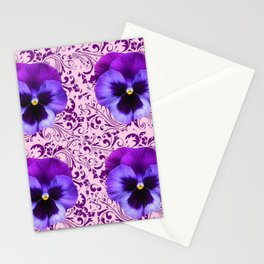 PINK ART &  LILAC PURPLE PANSY SPRING FLORAL PATTERN Stationery Cards