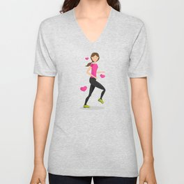 Cute Girl Who Loves To Run Cartoon Illustration Unisex V-Neck