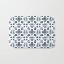 Dusky Blue Flower Flourish Pattern Bath Mat