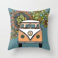 vw bus Throw Pillows featuring VW bus by Woosah