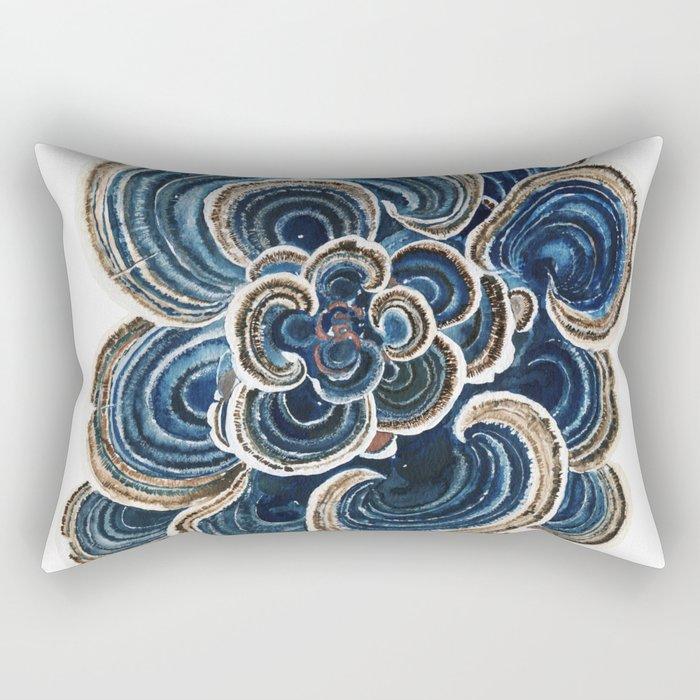 Blue Trametes Mushroom Rectangular Pillow