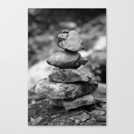 stones at the waterfall stream near the ruins in Flintsbach Canvas Print