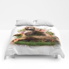 Four Ferrets in Their Wild Habitat Comforters