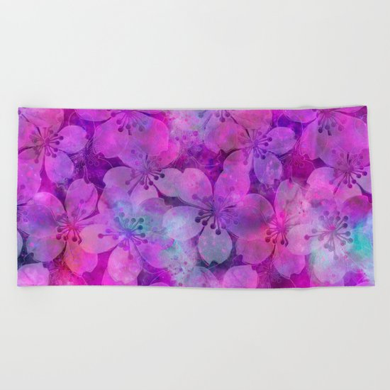 Fancy Floral watercolor pattern pink Beach Towel