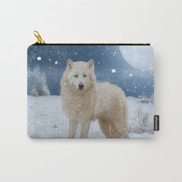 Awesome arctic wolf in the night Carry-All Pouch
