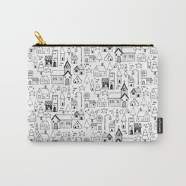 Tiny town: playful black and white line art of a whimsical town Carry-All Pouch