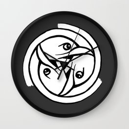 Celtic Art - Bird Head Triskele - on Grey Wall Clock
