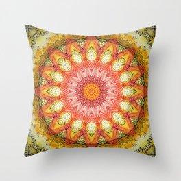 Detailed Red Orange Mandala Throw Pillow