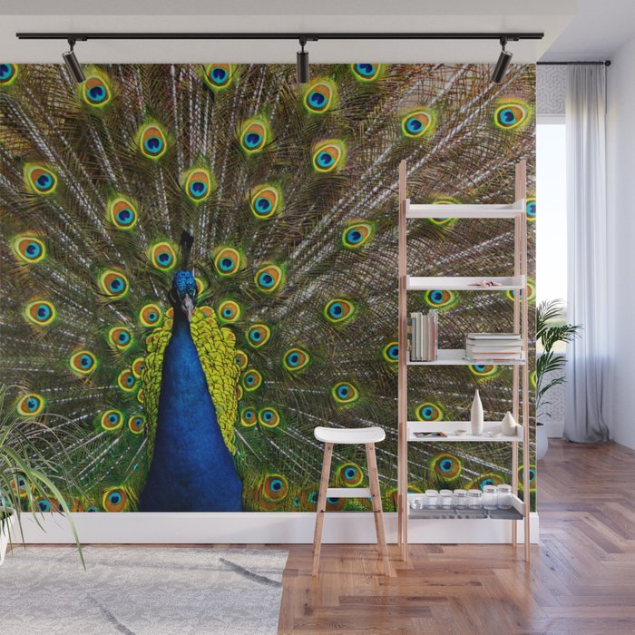 Colorful peacock Wall Mural by marionboe Society6