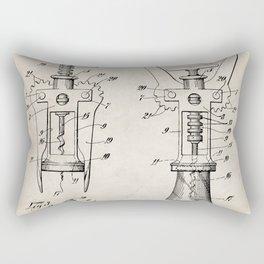 Cork Screw Patent - Wine Art - Antique Rectangular Pillow