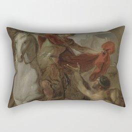 Louis Galloche - Saint Martin Sharing his Coat with a Beggar Rectangular Pillow