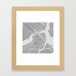 Beantown City Map Framed Art Print