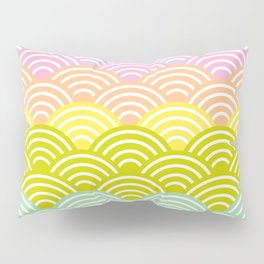 Seigaiha or seigainami literally means blue wave of the sea. rainbow pattern abstract scale Pillow Sham
