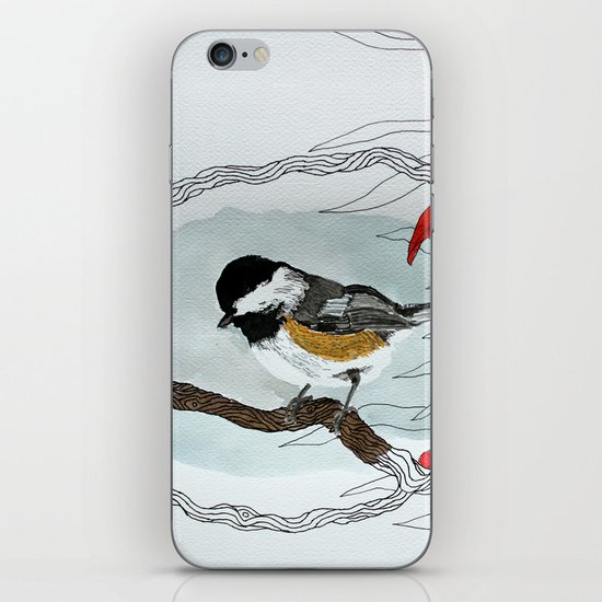 Black capped chickadee and fantasy flowers and lines iPhone & iPod Skin