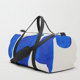Minimalist Modern Mid Century Colorful Abstract Shapes Phthalo Blue Native Pebbles Stacked Duffle Bag