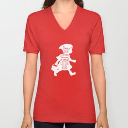 Once Upon a Time there was a Sweet Little Girl -Little Red Riding Hood Art Print  Unisex V-Neck