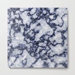 Blue & Gray Marble Texture Metal Print