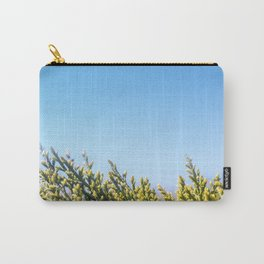 Blue sky copy space square background with coniferous fir tree Carry-All Pouch