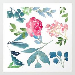 Floral on White Art Print