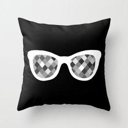 Diamond Eyes White on Black Throw Pillow