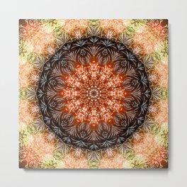 Orange Firework Mandala Metal Print
