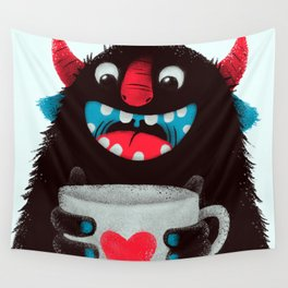 Demon with a cup of coffee (contrast) Wall Tapestry