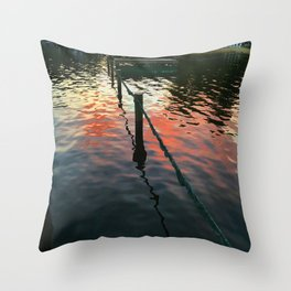 Sunset reflection on Severn River, Maryland Throw Pillow