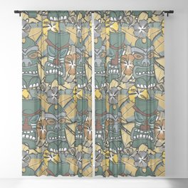 Tiki Tropics - Mustard and Green Sheer Curtain