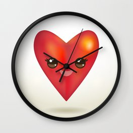 Valentine's Day Card with Kawaii red heart Wall Clock