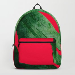 Green Fern on Bright Red Backpack
