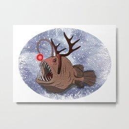 Red nosed reindeer Anglerfish Metal Print