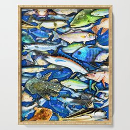 DEEP SALTWATER FISHING COLLAGE Serving Tray