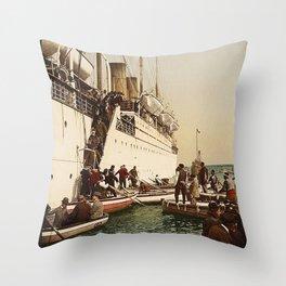 Boarding the Ship - vintage photograph Throw Pillow