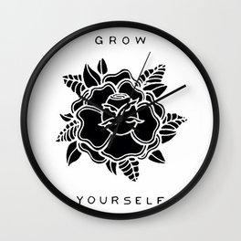 black rose/grow yourself Wall Clock
