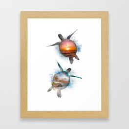 Turtle Beach & Sunset Framed Art Print