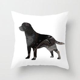 Labrador Retriever Black Fluid Abstract Art - Lab Image Throw Pillow