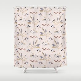 Pink Natural Leaf Berry Branch Vector Pattern, Shower Curtain