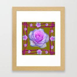 PINK-BLUE TINGED ROSES ON KHAKI COLOR Framed Art Print