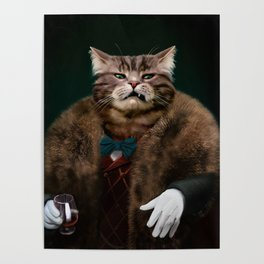 Arrogant sophisticated dressed cat boss looking with contempt Poster