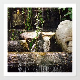dreamy water flowing over old Asian stones Art Print