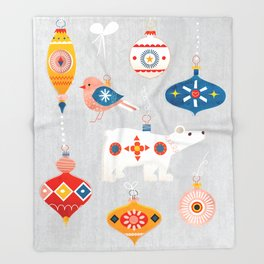 christmas vintage decorations with bear and bird Throw Blanket