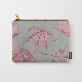 Japanese maple leaves - apricot on light khaki green Carry-All Pouch