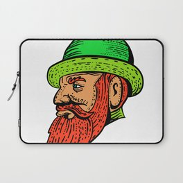 Hipster Wearing Bowler Hat Etching Color Laptop Sleeve
