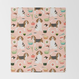 beagle sushi dog lover pet gifts cute beagles pure breeds Throw Blanket
