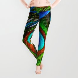 BLUE PEACOCK EYE FEATHER DESIGN Leggings
