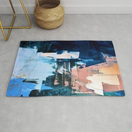 On the Dock: a pretty abstract design in blues and pinks by Alyssa Hamilton Art Rug